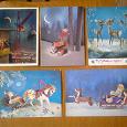 Отдается в дар открытки С новым годом! «Куклы» период СССР подписаны, 5 шт