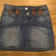 Отдается в дар джинсовая мини-юбка р-р 42 с двойным поясом
