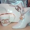 Отдается в дар Набор: Салфетница, кофейная чашечка и блюдечко