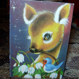 Отдается в дар Мини-открытка с оленёнком