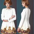 Отдается в дар Короткое жаккардовое белое платье с орнаментом от Sheinside, р-р XL
