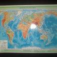 Отдается в дар Карта Мира Физическая и Политическая, 44*39см