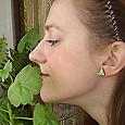 Отдается в дар Серьги-гвоздики зелёные с серебром