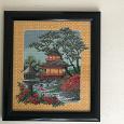 Отдается в дар Вышитая картина «Чайный домик»