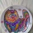 Отдается в дар тарелка декоративная… кошка-муркошка узорчатая