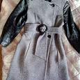 Отдается в дар Теплое пальто б/у на р.44-46, серое с кожаными рукавами, нат. кожа