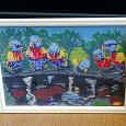 Отдается в дар Картина по номерам «Попугаи», раскрашенная, размер 25*18 см