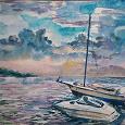 Отдается в дар Акварель «Лодки на закате»