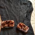 Отдается в дар Черная вязаная кофточка р. 42-44 натур мехом