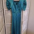 Отдается в дар атласное изумрудное платье 42-44