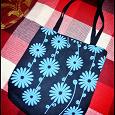 Отдается в дар текстилная сумка с синими цветами