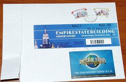 Отдается в дар «Билеты в коллекцию, карта universal studio и empire state building (США)»