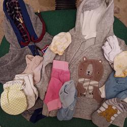 Отдается в дар «Носочки и пинетки антицарапки на малюток, до 3 м»