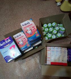 Отдается в дар «Детское питание: агуши, молочная смесь (I, II) и каши»