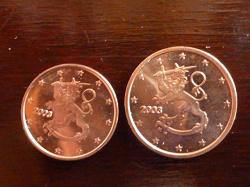 Отдается в дар «1 и 2 евроцента Финляндии»