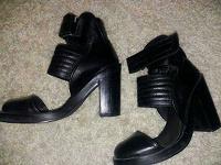 Отдается в дар Крутые чёрные кожаные туфли-боты — все узнают кто ты (: