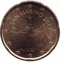 Отдается в дар Монета 20 евроцентов 2017 Сан-Марино