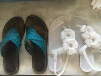 Отдается в дар Шлепки кожаные и сандали резина 35 размер