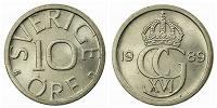 Отдается в дар 10 Sverige Öre 1989/ 10 шведских эре 1989