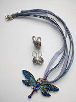 Отдается в дар Серебряные сережки и кулон-стрекоза