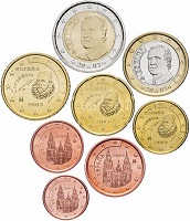 Отдается в дар Испанские евро деньги.
