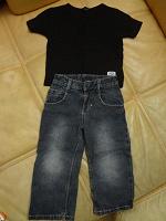 Отдается в дар джинсы с черной футболкой на 86 см