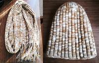 Отдается в дар Зимние шапка и шарф карамельного оттенка Ferz