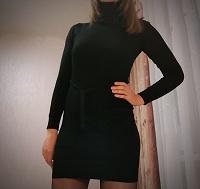 Отдается в дар Женское чёрное трикотажное облегающее платье. S