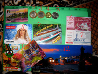 Отдается в дар Магнитик, монеты, билетики, календарики и открытка.