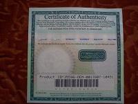Отдается в дар Сертификат подлинности.