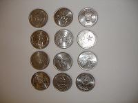 Отдается в дар 12 разных монет quarter dollar США