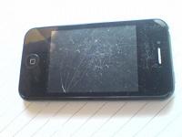 Отдается в дар копия iPhone, 2 sim-карты, черный, треснутый тачскрин