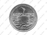 Отдается в дар Монетка квотер США из серии Нац. парков Геттисберг