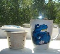 Отдается в дар Чашка с синим бегемотом