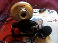 Отдается в дар Веб-камера с микрофоном на прищепке + наушники с микрофоном. Все Джениус.