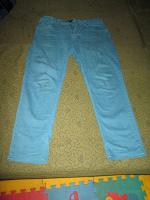 Отдается в дар Джинсы унисекс зелено-голубые на рост 140-145см