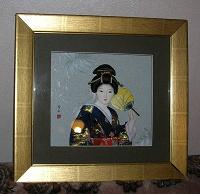 Отдается в дар Японская кукла в рамке Сувенир
