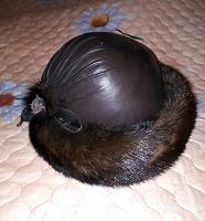 Отдается в дар Шапка женская, натуральная кожа и мех, для рукоделия