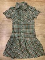 Отдается в дар Зеленое платье в клеточку 40-42 размер
