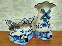 Отдается в дар Винтажный фарфоровый голландский набор (Ваза и кашпо)