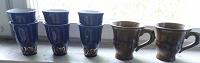 Отдается в дар Бокалы темно синие 6 шт, чашки керамика 2 шт