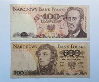 Отдается в дар Польша 100 и 500 злотых