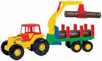 Отдается в дар Трактор с краном и бревнами