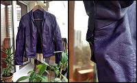 Отдается в дар фиолетовая кожаная куртка 42-44