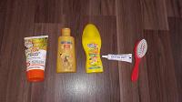 Отдается в дар Солнцезащитные крема, олия для тела, от зубной боли и расческа