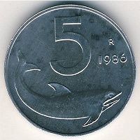 Отдается в дар Монета 5 лир Италии
