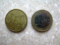 Отдается в дар монеты Германия 50 евроцентов и 1 евро