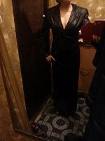 Отдается в дар летнее черное пальто в пол с капюшоном