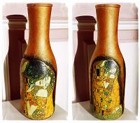 Отдается в дар Бутылка-декупаж «Климт».