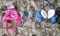 Отдается в дар Детские шапка, варежки и пинетки